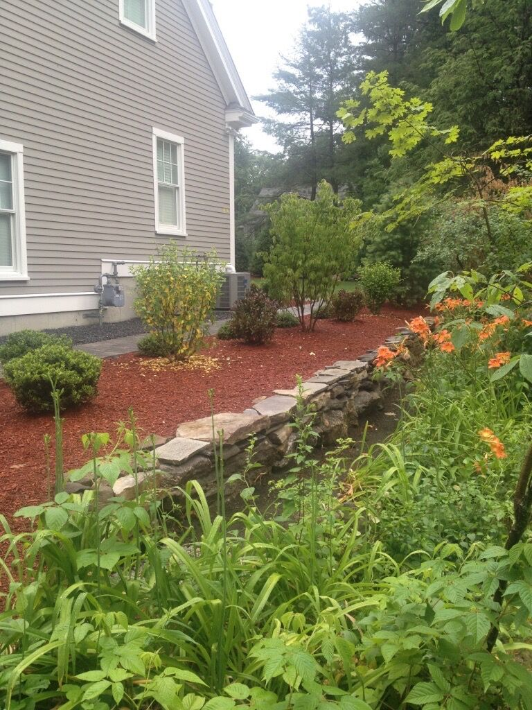 Natural Field Stone Wall and Plantings