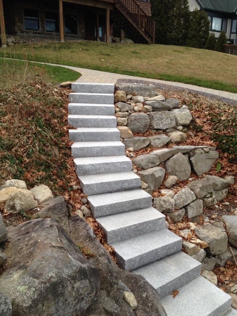 Long Curved Granite Staircase