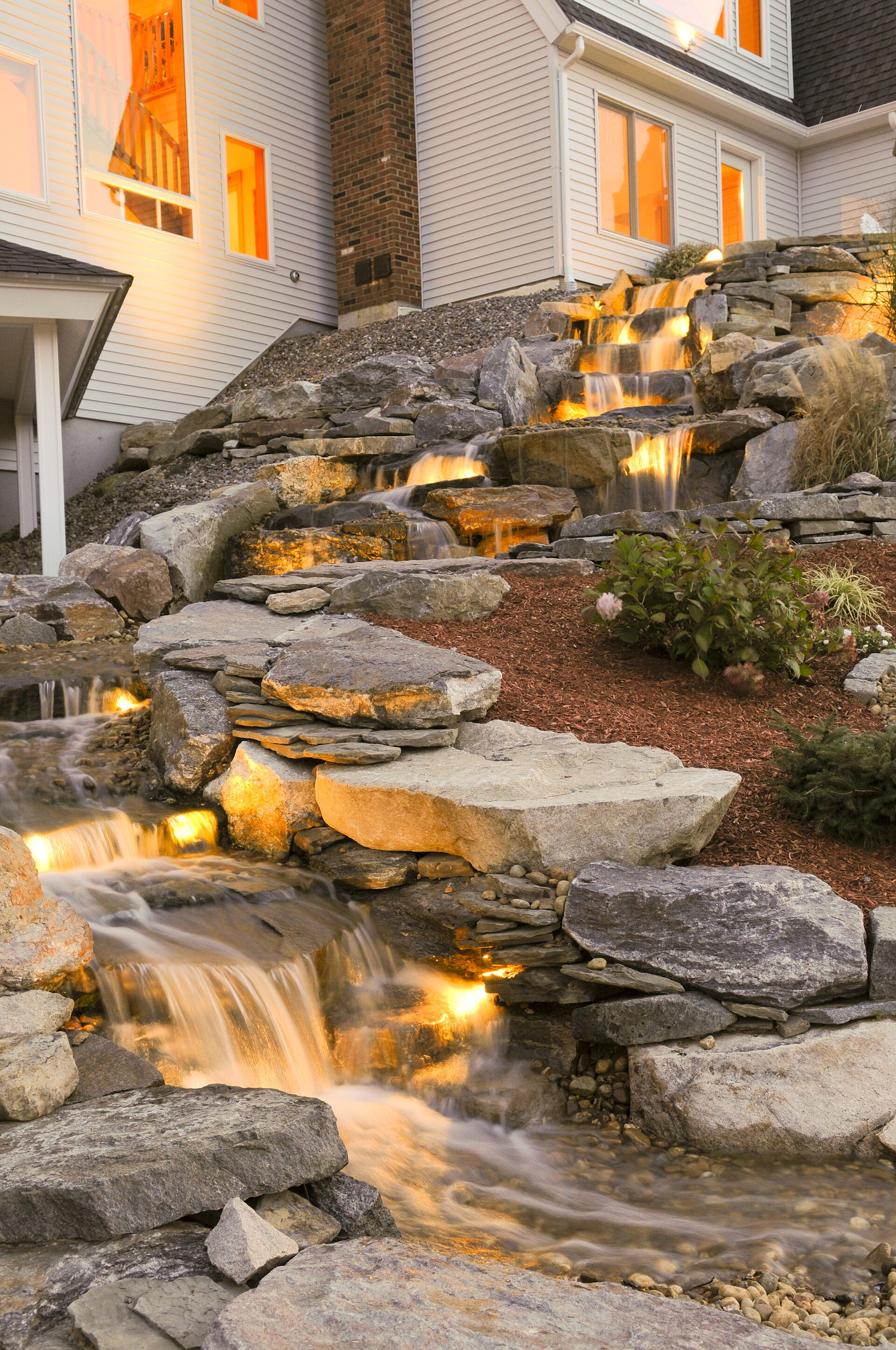Waterfall with Outdoor Lighting
